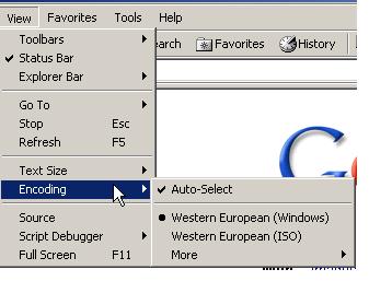 Capture d'écran montrant où changer le codage des caractères dans Internet Explorer