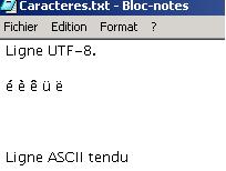 Capture d'écran montrant comment les caractères accentués en ASCII étendu disparaissent dans le Bloc-note