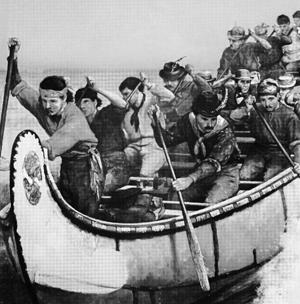 Photo d'une descente des rapides dans un canot de maître.