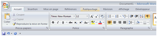 Capture d'écran de l'interface Microsoft Word