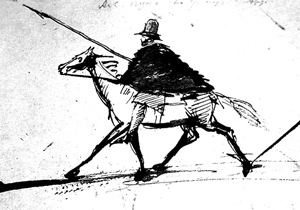 Self-portrait of Pushkin on a horse
