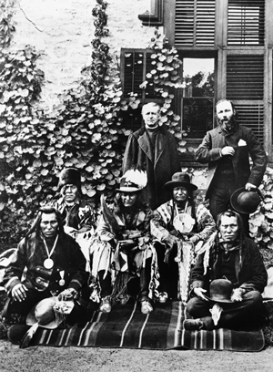 Picture Back: Father Albert Lacombe and Jean L'Heureux. Middle: Three Bulls, Crowfoot and Red Crow. Front: North Axe and One Spot. Visit to Ottawa in 1886