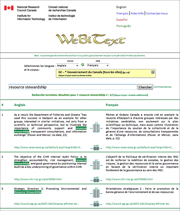 Print screen of the WeBiText user interface
